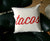 Taco Print Throw Pillow, Script Font. Well Done Goods by Cyberoptix