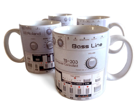 TB-303 Mugs, Bass Synth Coffee Cup Set. Well Done Goods by Cyberoptix