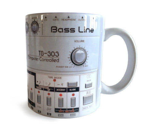 TB-303 Mug, Bass Synth Coffee Cup. Well Done Goods by Cyberoptix