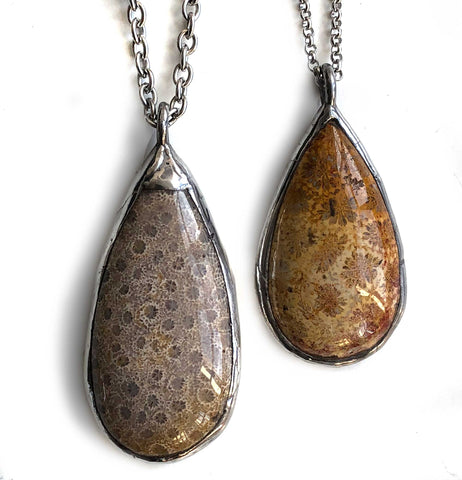 Michigan Petoskey Stone Pendants, Teardrop Shape