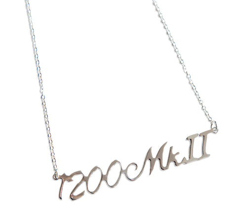 Technics 1200 MkII Silver Script Necklace, Techno Pendant, by Well Done Goods