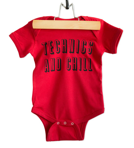 Technics and Chill Baby Onesie, red on black. Well Done Goods