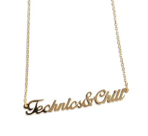 Technics and Chill Script Necklace, Techno Pendant, by Well Done Goods