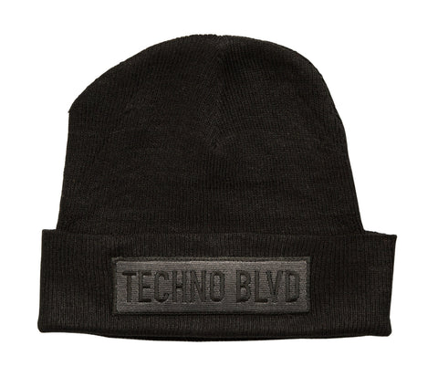 Techno Blvd Black Beanie Cap, Well Done Goods