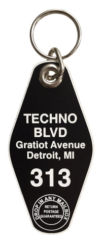 Techno BLVD Motel Style Keychain Tag, Black and White, by Well Done Goods