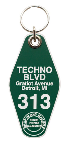 Techno BLVD Motel Style Keychain Tag, Green and White, by Well Done Goods