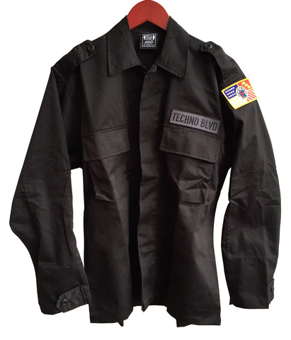 Techno Blvd & Detroit City Flag, Black Tactical BDU Jacket, Well Done Goods