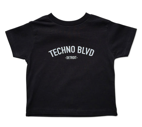 Techno Blvd Detroit, black Toddler T-Shirt, Well Done Goods