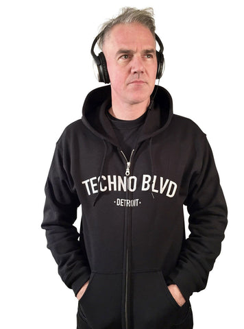 Techno Blvd Unisex Zip Up Hoodie, Detroit Techno hooded sweatshirt by Well Done Goods