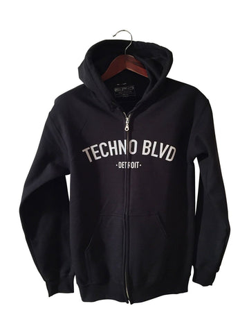 Techno Blvd Unisex Zip Up Hoodie, Black Detroit Techno hooded sweatshirt by Well Done Goods