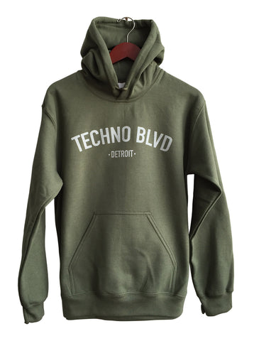 Techno Blvd Silver on Olive Unisex Pullover Hoodie, Well Done Goods