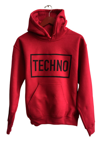 Techno Text Print Black on Cardinal Red Unisex Pullover Hoodie, Well Done Goods