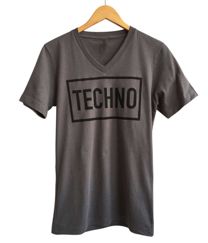 TECHNO Text Print V-Neck T-Shirt, Charcoal Grey. Well Done Goods