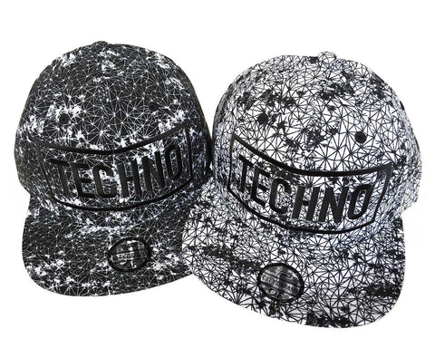 TECHNO Hats. Black and White 3d Embroidered Wireframe Geometric Print Caps, Well Done Goods