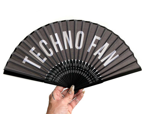 Techno Fan. Printed black silk hand fan, by Well Done Goods