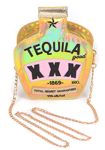 Iridescent Gold Tequila 3D Purse at Well Done Goods