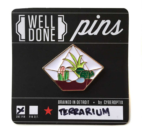 Geometric Terrarium Enamel Pin, Well Done Goods
