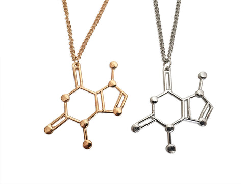 Theobromine Molecule, Chocolate Lover Pendant Necklaces, Well Done Goods
