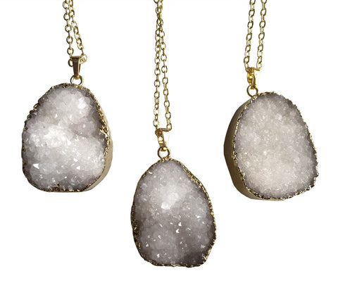 Thick Oval Milky Quartz Crystal Pendant Necklaces, by Well Done Goods