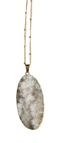 Thick Oval Druzy Crystal White Quartz Pendant Necklace, Well Done Goods