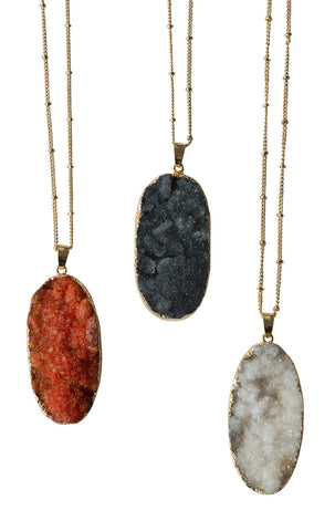 Thick Oval Druzy Crystal Pendant Necklaces, Well Done Goods