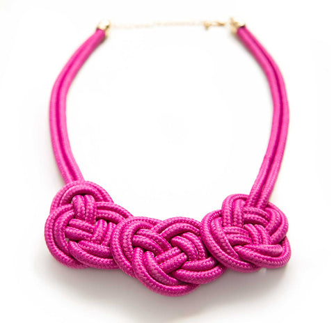 Triple Knot Woven Rope Statement Necklace, violet