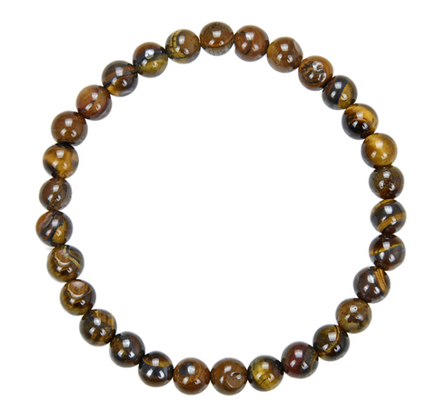 Tiger's Eye Stone Bead Mala Bracelet, 6mm
