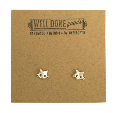 Tiny Cat Face Gold Stud Earrings, Well Done Goods