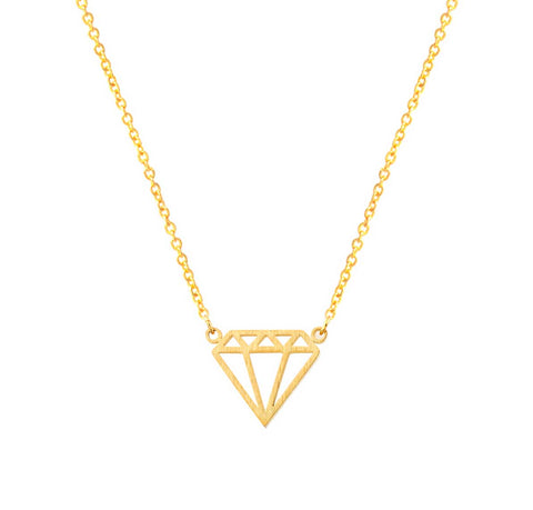 Tiny Geometric Diamond Outline Necklace, gold. Well Done Goods