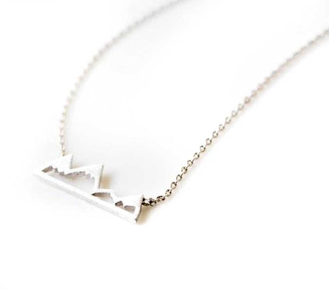 Tiny Mountain Necklace, silver. Well Done Goods