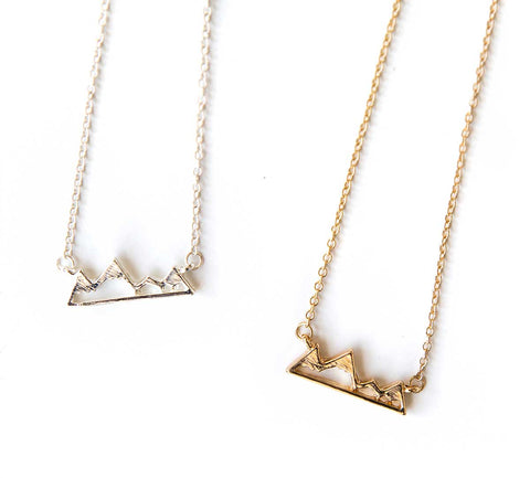 Tiny Mountain Peak Necklaces, gold-tone and silver. Well Done Goods
