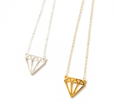 Tiny Geometric Diamond Outline Necklaces. Well Done Goods