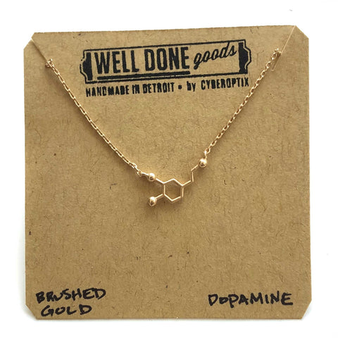 Tiny Matte Dopamine Molecule Necklace, gold