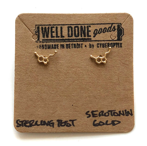 Tiny Matte Serotonin Molecule Earrings, gold