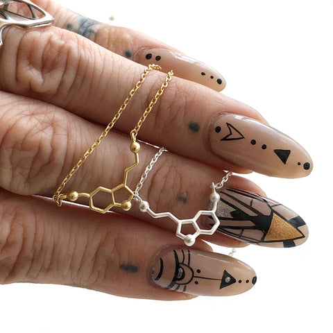 Tiny Matte Serotonin Molecule Necklaces