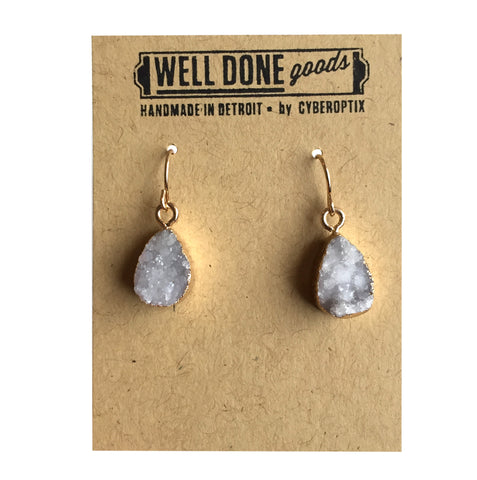 Tiny Teardrop Druzy Drop Earrings, Milky Quartz. Well Done Goods