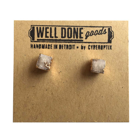 Tiny Square Druzy Stud Earrings, Milky Quartz. Well Done Goods