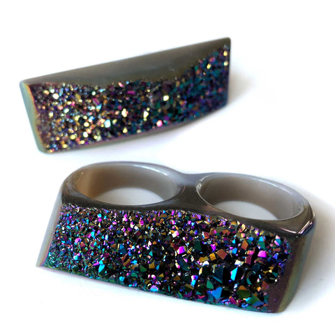 Two Finger Knuckle Duster Ring, Rainbow Iridescent Druzy. Size 8.5/9.75