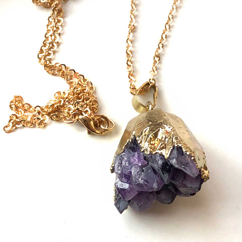Amethyst Crystal Cluster Pendant, Gold Electroplate