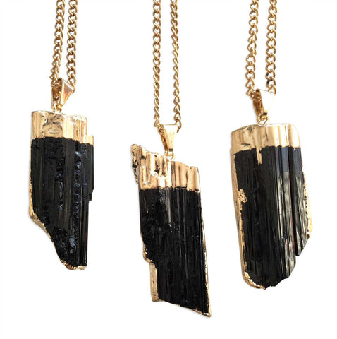 Black Tourmaline Point Pendant, by Well Done Goods