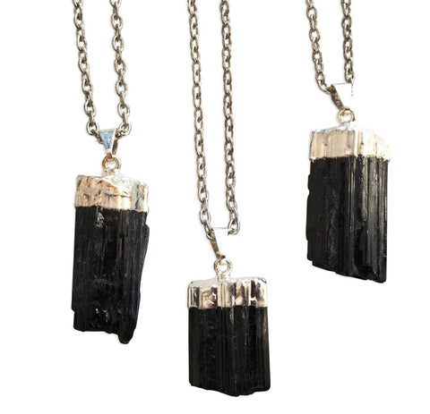 Black Tourmaline Point Pendant, Silver Plated Necklace, by Well Done Goods