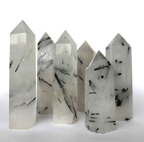 Polished Tourmalinated Quartz Towers, Medium