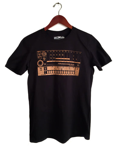808 Drum Machine T-Shirt, orange on black. Well Done Goods by Cyberoptix