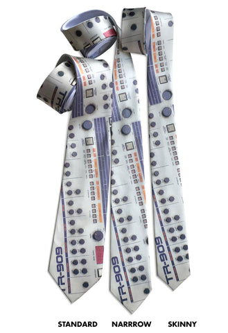 TR-909 Drum Machine Neckties, Full Color Print, Well Done Goods