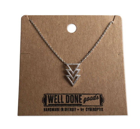 Stacked Triangle Pendant Necklace, Silver Delicate Pendant, by Well Done Goods