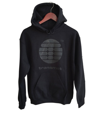 Transmat Logo Black Unisex Pullover Hoodie, Transmat Records, Well Done Goods