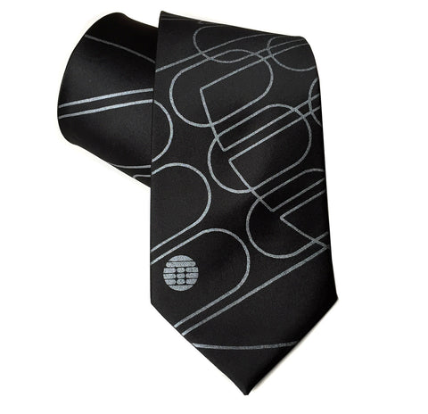 Transmat Necktie. Black Transmat Records tie, Detroit Techno. Well Done Goods by Cyberoptix
