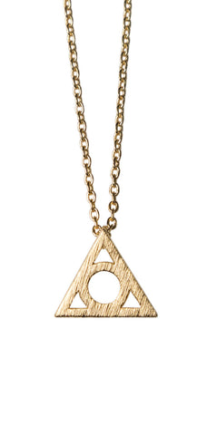 Triangle with Nesting Circle Gold Pendant Necklace, Well Done Goods