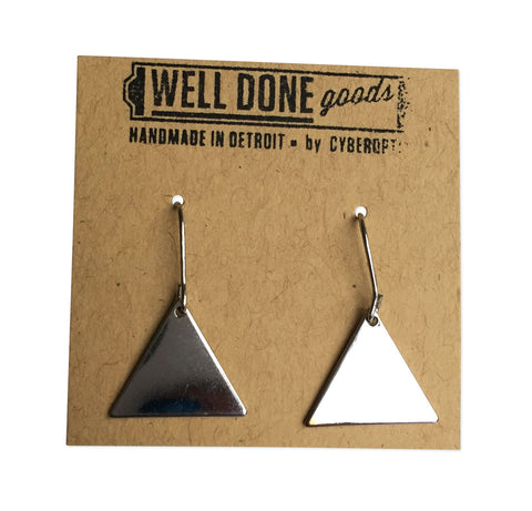 Small Triangle Silver Geometric Earrings, by Well Done Goods