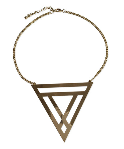 Large Flat Triangle Geometric Necklace, by Well Done Goods